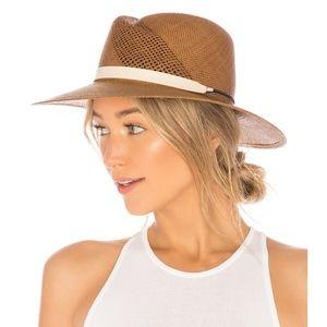 Rag & Bone Zoe Straw Fedora Hat Brown Small/Med